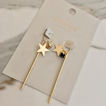 orelia long star bar earrings