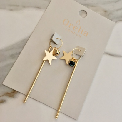 orelia long star bar earrings