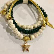 green bracelet stack
